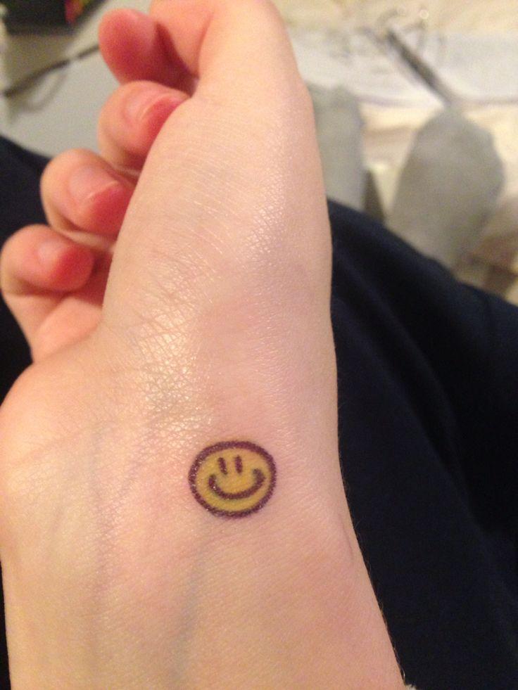 Smiley face small tattoo idea                                                                                                                                                                                 More