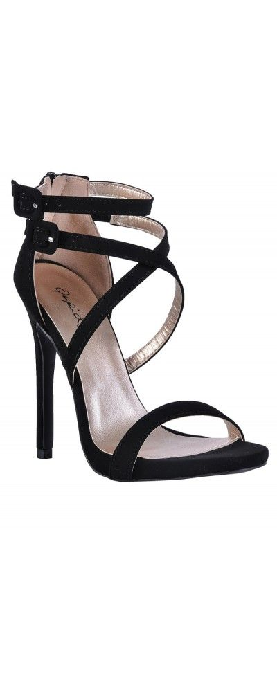 Lily Boutique Strap Happy Banded Open Toe Stiletto in Black, $28 Black Strappy Stiletto Heels, Cute Black Stilettos, Black Stiletto Sandals, Cute Black Heels www.lilyboutique.com