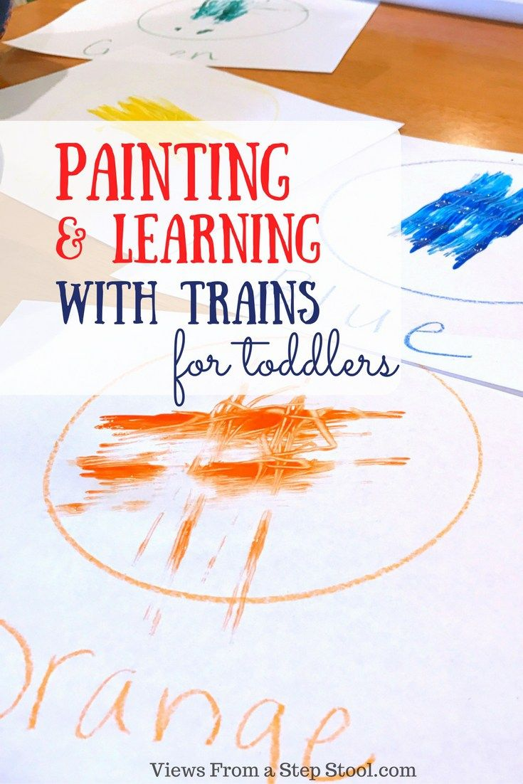 Learning colors art activities for preschool - Learning Colors By Painting With Trains