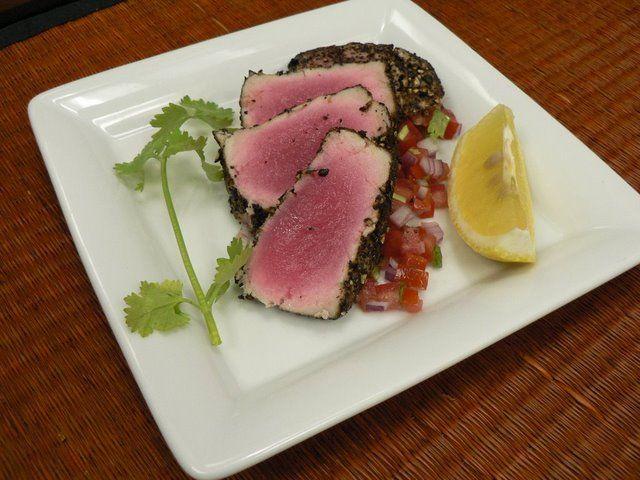 Gegrilde, gemarineerde tonijn