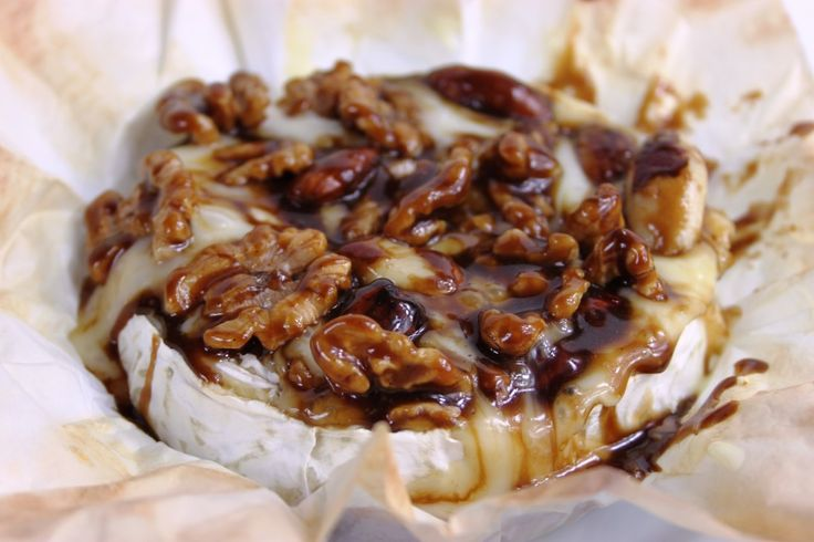 Camembert, nuts and toffee sauce