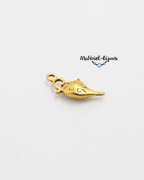 breloque théière pour fabriquer des bijoux fantaisie. Apprêt en coloris or.