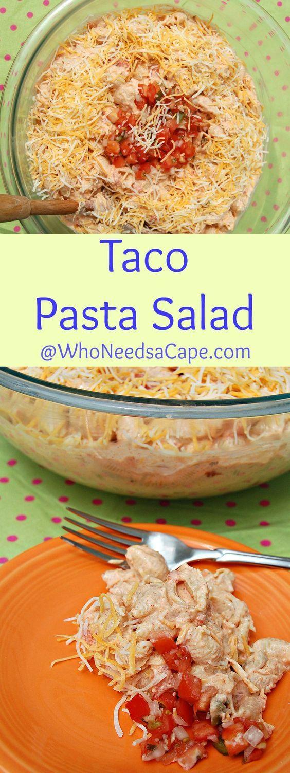 Taco pasta salad satin hands pinterest tacos salads for Cold pasta salad ideas