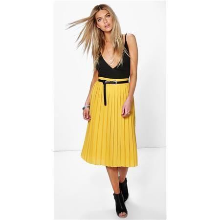Šifonová hořčicově žlutá midi sukně Nieve BOOHOO velký