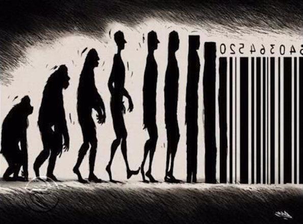 evolution with a bar code .   000 street art