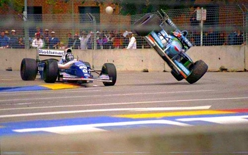 Damon Hill & Michael Schumacher, Adelaide 1994. What happens when you try to block.