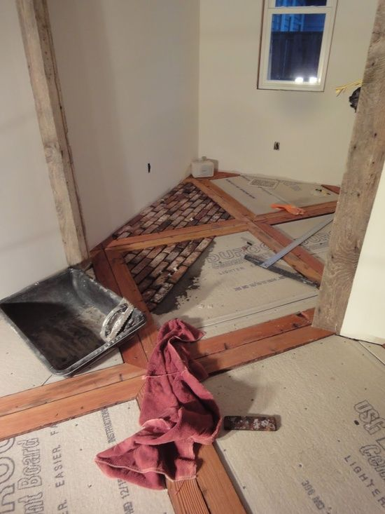 sandblasted 2x4 and brick floor DIY.