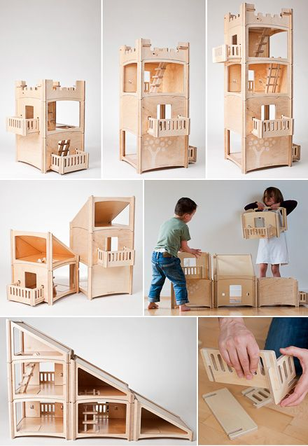 This is hands-down the most clever piece of toy design I've come across in quite a while. The Dutch designed Toideloi Stackhouse is a modular dollhouse for boys and girls - slot the wooden pieces together to build a house, sky-scraper, village or castle - something different every day. Made of Baltic Birch plywood the walls of the rooms simply slide together. No screws or tools required.