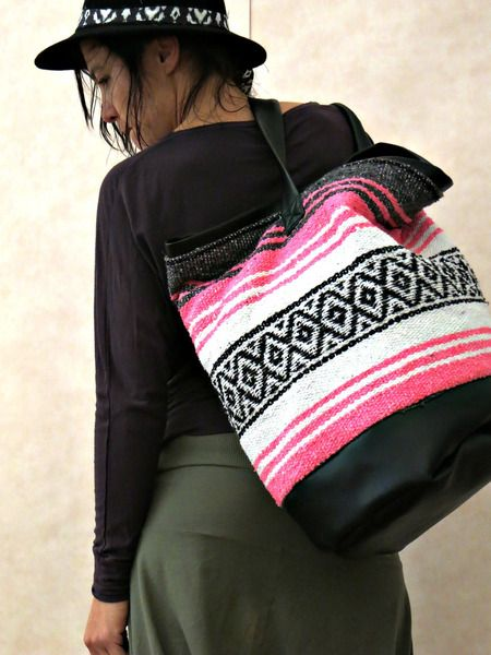 Ethno Tasche upcycled aus indianischer Decke pink from Onni Palermo by DaWanda.com