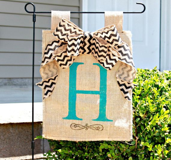 Personalized Burlap Garden Flag Yard Flag with Chevron Bow via Etsy