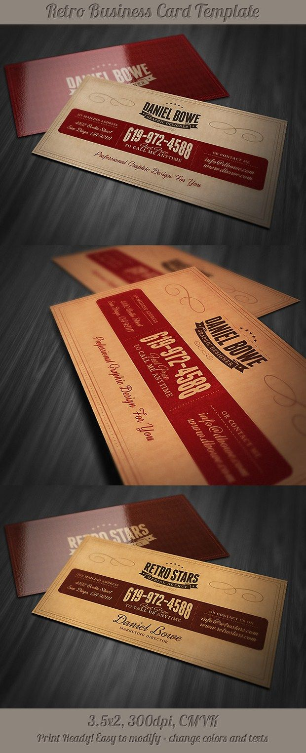 130 best business cards images on pinterest cards graduation buy retro business card by on graphicriver creative and unique business card template with retro or vintage style fully layered psd files magicingreecefo Gallery