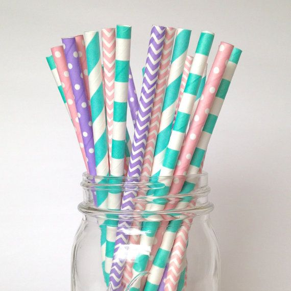 Princess Birthday Straws Pink Aqua Party Decorations Purple Teal Decor Pink Lavender Straws Cupcake party Kids first birthday girls party