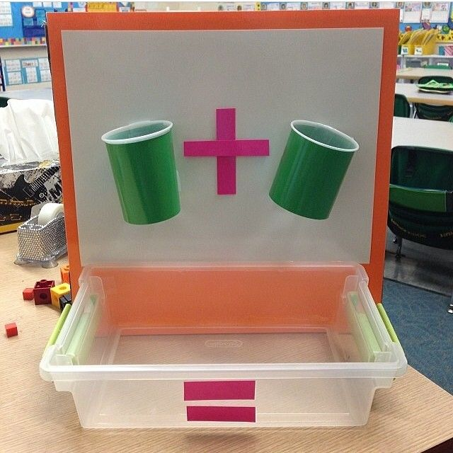 """Look at what @sweetsoundsofkinder made!! There are holes in the bottom of the cups so you can drop manipulatives in them and practice adding!"""