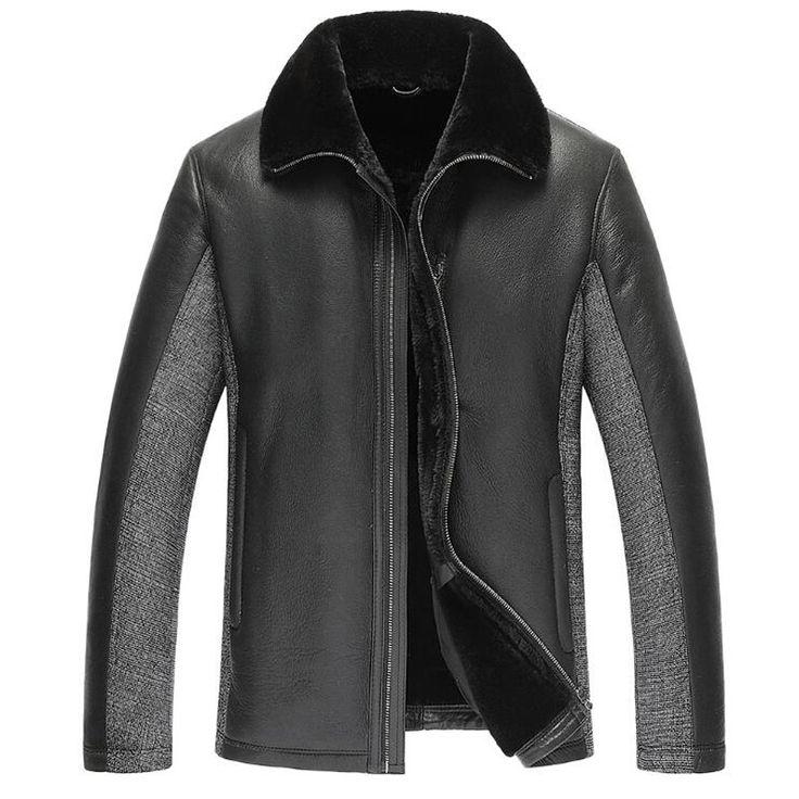 Leather Jacket Men Men's Fur Coat Men's Shearling Jacket Mens Stand Collar Coat 100% Genuine Leather Outerwear