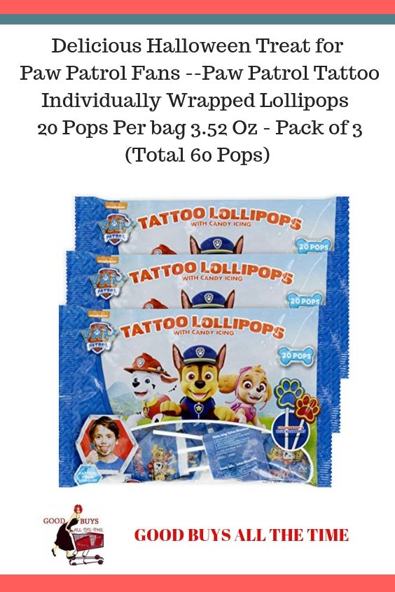32a85cbcb2f594 Delicious Halloween Treat for Paw Patrol Fans -Paw Patrol Tattoo  Individually Wrapped Lollipops 20 Pops Per bag 3.52 Oz - Pack of 3 (Total  60 Pops) ...