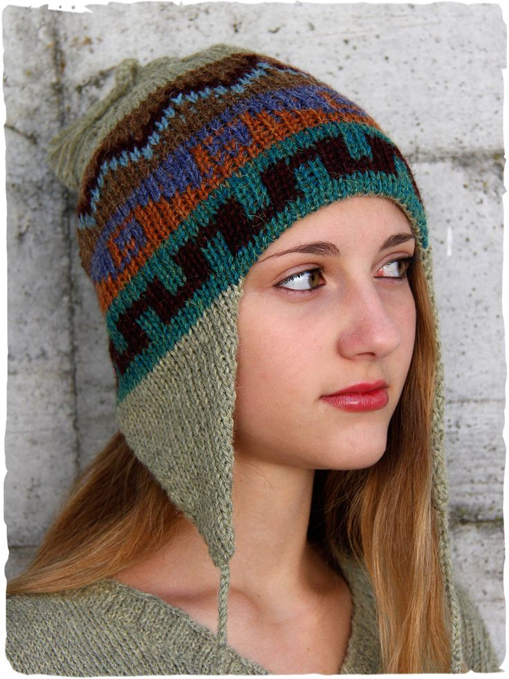 #knit #hat with ear flaps for men and women. #alpacafashion