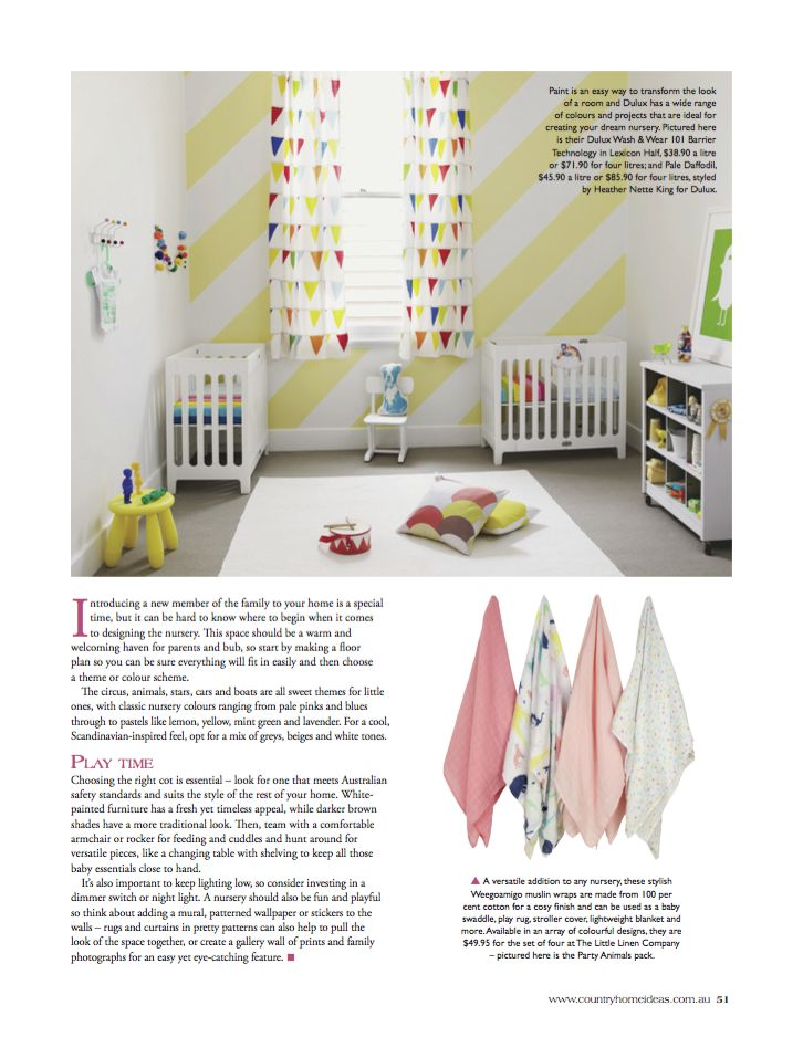 Weegoamigo Party Animals 4-pack muslins, as featured in Country Home Ideas Vol. 16 No. 3