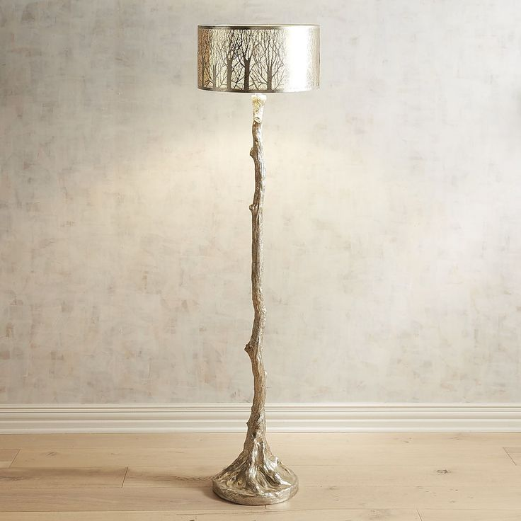 Etched Birches Silver Floor Lamp | Pier 1 Imports