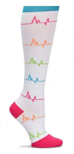 Nurse Mates White EKG Stripes Womens Compression Socks For Nurses Size 9-11