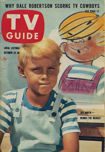 TV Guide with Dennis!Menace Tv, Guide Covers, 1959, Childhood Memories, Dennis The Menace, Tv Guide, Jay North, Covers 1950S, October 24 30