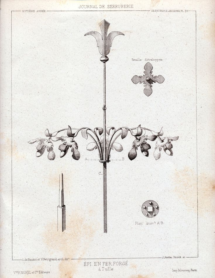 1880 French Antique Engraving of Decorative and Architectural Metalwork. Cast-iron Decor in Tulle, France. Plate 29