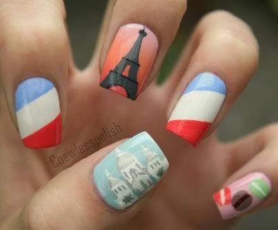 france flag nails nail design