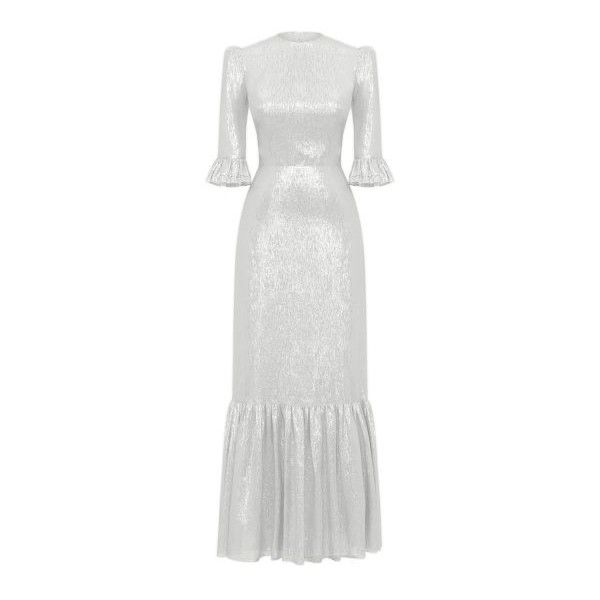 SILVER METALLIC FESTIVAL DRESS ($2,325) ❤ liked on Polyvore featuring dresses, slimming dresses, ruching dress, white dresses, chiffon ruffle dress and white ruffle dress