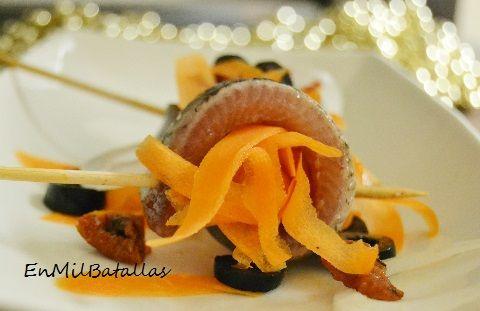 Banderillas de sardina ahumada y zanahoria