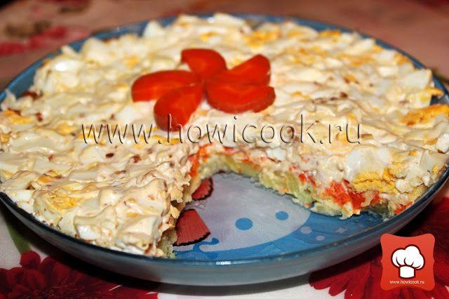 Салат слоеный с грецкими орехами