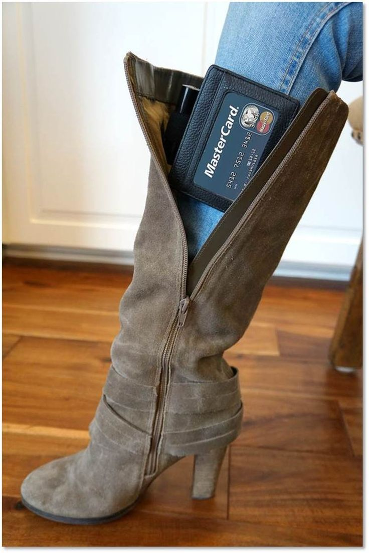 Hands free wallet discreetly and securely tucks inside any pair of boots! The Boot Wallet™ is perfect for carrying all of the essentials without the hassle of using a purse or worrying about a clutch.