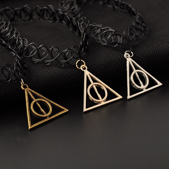 Aliexpress.com : Buy Fashion Retro Stretch Tattoo Choker Necklace Harry Potter Deathly Hallows Pendant Necklace Black Plstic Collar necklace from Reliable Choker Necklaces suppliers on sanhe888 | Alibaba Group