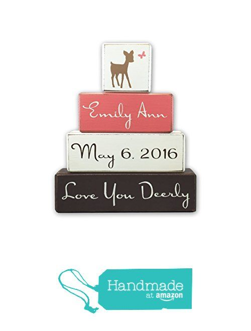 Deer nursery decor, little girl woodland baby shower nursery decor, personalized baby gift, stacking wood sign blocks by Apple Jack Designs from Apple Jack Designs https://www.amazon.com/dp/B01GG9H2AY/ref=hnd_sw_r_pi_dp_cSXtxbJ02SR6V #handmadeatamazon