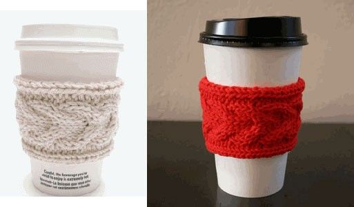 Knitted coffee cup holder