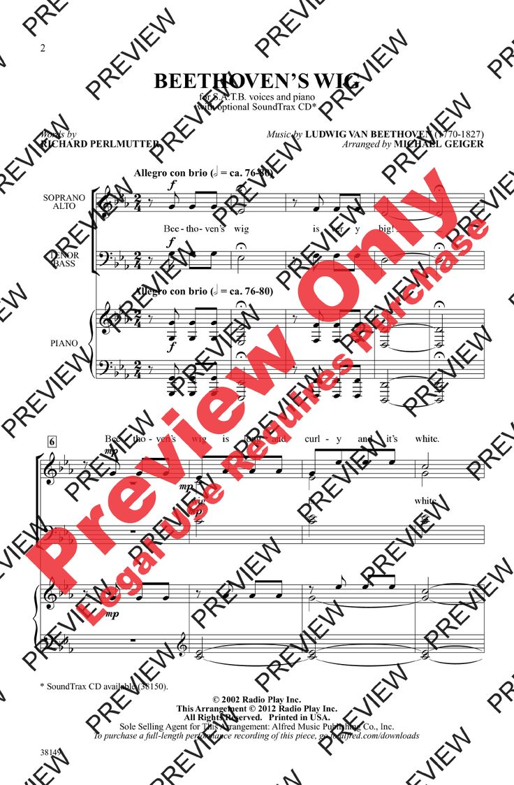 John denver grandma s feather bed sheet music - Beethoven S Wig Satb By Ludwig Van Beetho J W Pepper Sheet Music