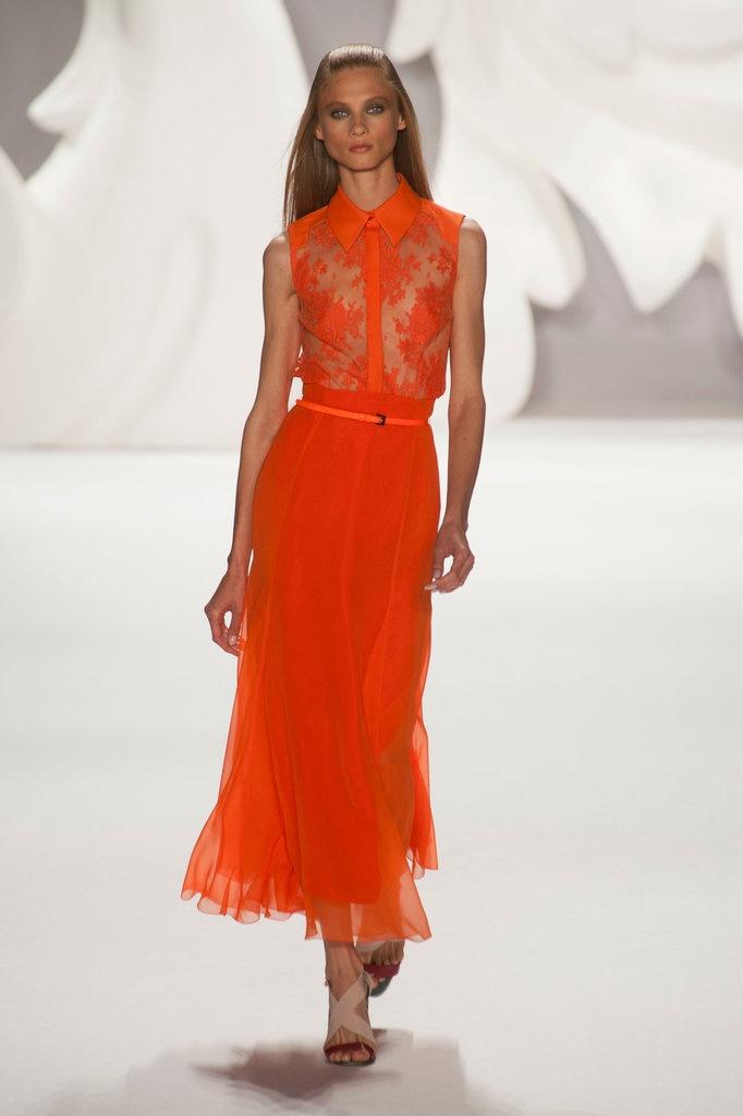 Tropical Tangerine color in fashion:  Carolina Herrera Spring 2013 #tangerine