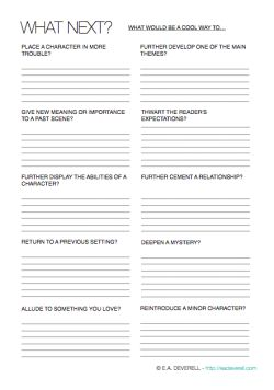 Use this writing worksheet to repurpose elements you've already introduced and decide what happens next.