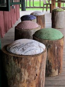 Stump stools covered with outdoor fabric. Excellent to use around a fire-pit