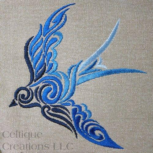 Celtic Spiral Bird Messenger Bag Khaki Cotton Canvas Blue Ombre Swirl
