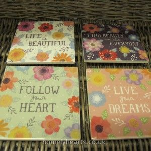 Watercolour Floral Coaster Set – 4 beautiful coasters with inspirational sayings such as 'Live Your Dreams' and 'Life is Beautiful', these coasters will never fail to bring a smile to your face.