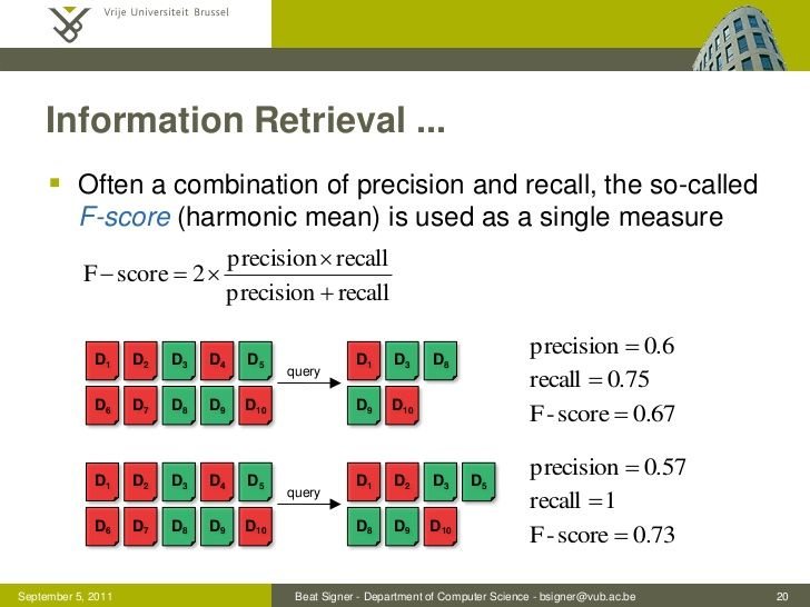 Information Retrieval ...      Often a combination of precision and recall, the so-called          F-score (harmonic mean...