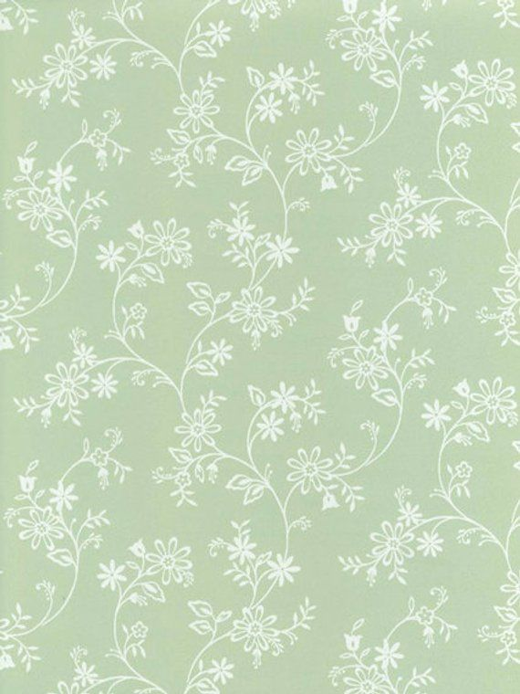Wallpaper Mini Trailing Fl Toil In White On Soft Light Green Flowers Trail Vine By The Yar