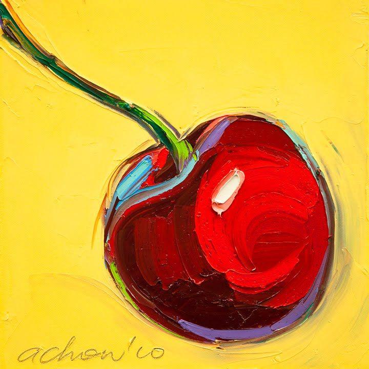 THE ART OF ALLAN CHOW: Original painting-Cherries -12X12-Modern Fine Art