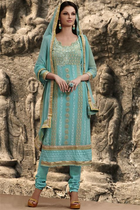 Graceful Blue Georgette Resham Embroidered Straight Cut Suit