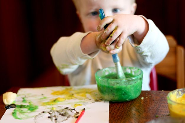 Fun Arts and Crafts for Kids | Easy DIY Edible Paint for Babies  | DIY Projects & Crafts by DIY JOY at http://diyjoy.com/pinterest-crafts-for-kids-diy-paint