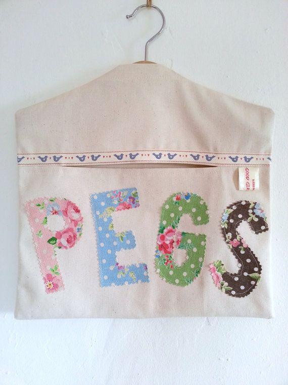 Handmade Cotton Shabby Chic Applique Peg Bag by GoodGirlDesigns, £12.00
