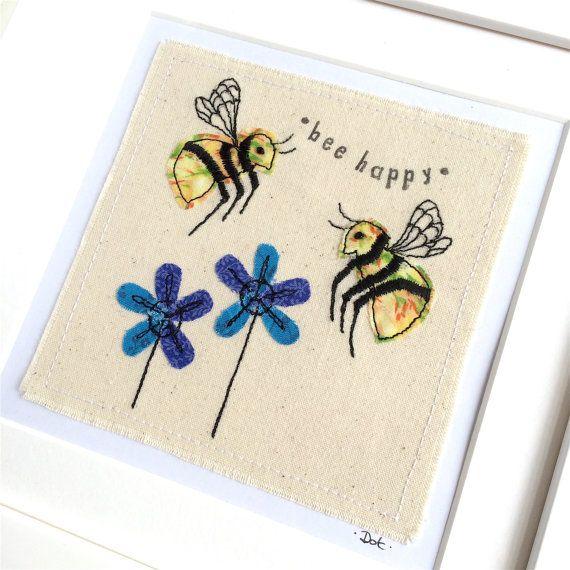 Bee Happy framed wall art picture gift, personalised stitched fabric applique embroidery. Wildlife nature birthday textile art