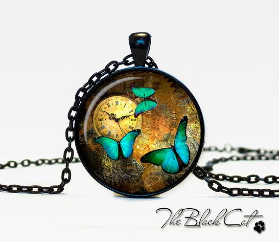 Steampunk clock pendant Steampunk watch by TheBlackCatPendants, $12.95