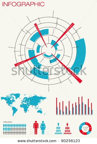 stock vector : Set  of infographics. World Map and Information Graphics