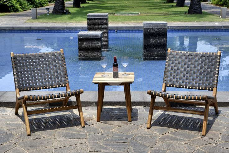 Replica Jens Risom Style Lounge Chair - Indoor/Outdoor chair - Solid Acacia Wood Frame, Charcoal Wicker