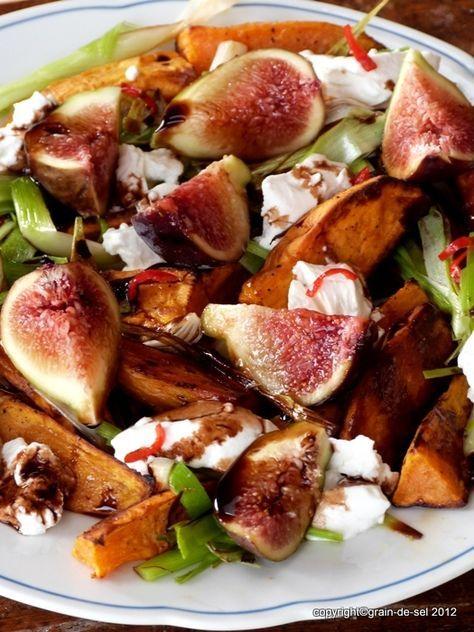 grain de sel - salzkorn: Bleib' noch Herbst: Salat mit Süßkartoffeln, Feigen und Ziegenkäse